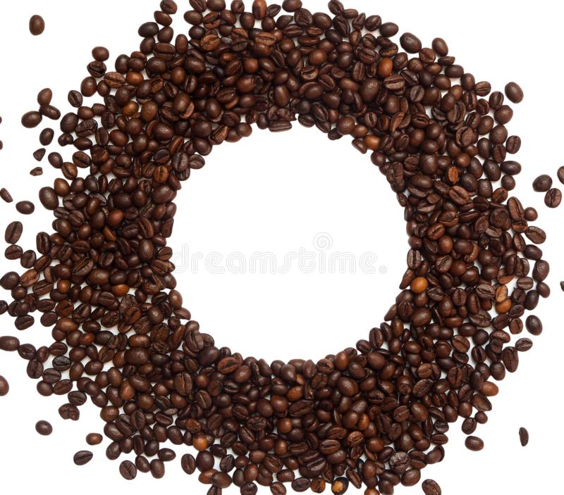 Coffee beans circle shape isolated on white. View from above. Copy space. Coffee beans circle shape isolated on white. View from above. Copyspace royalty free stock photography