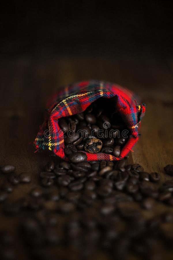 Coffee beans in a cloth bag stock photography