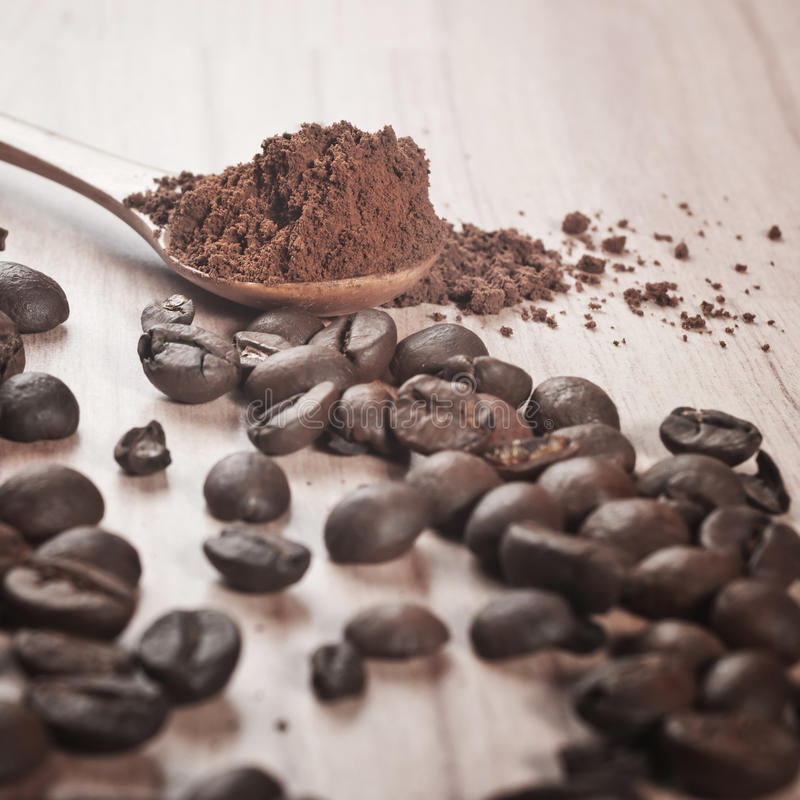 Download Coffee beans and cocoa stock photo. Image of cocoa, spoon - 22867914