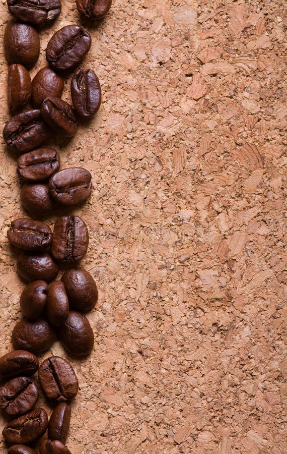 Download Coffee Beans On A Corkwood Texture Background Stock Image - Image: 19095449
