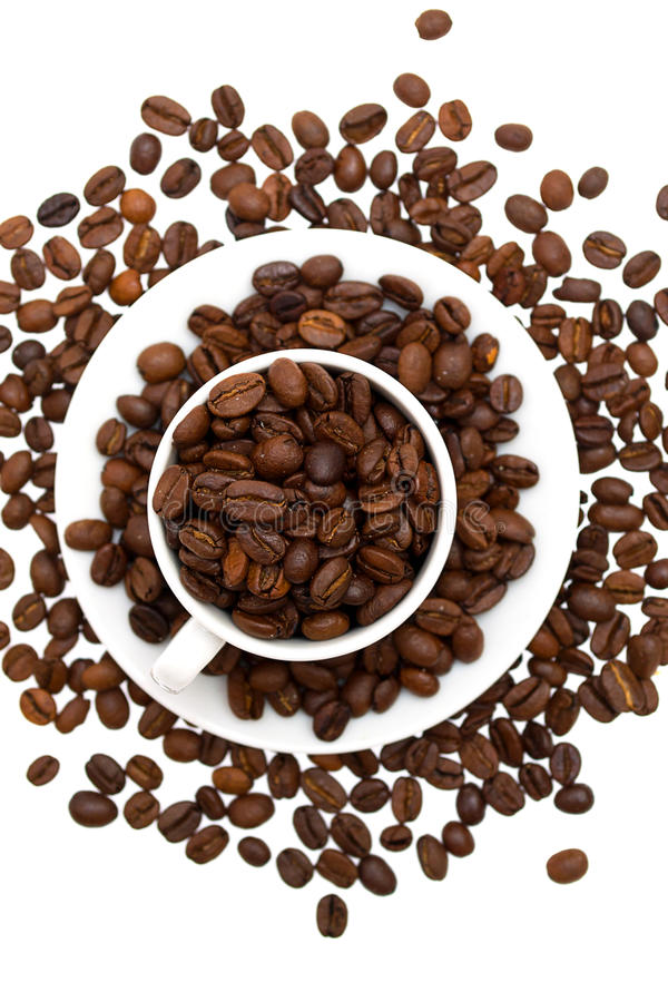 Coffee beans in a cup isolated royalty free stock photo