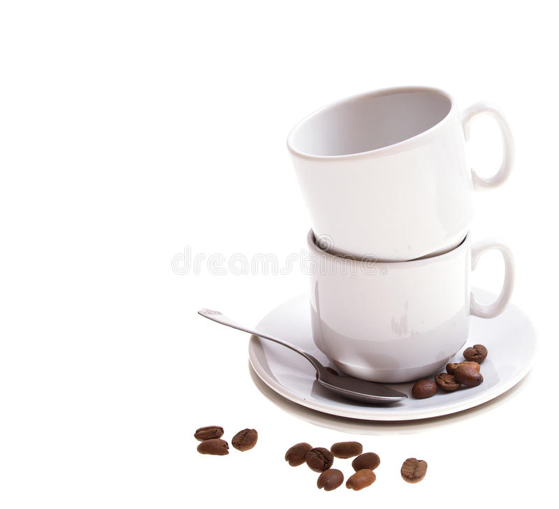 Coffee beans, cup, isolated on white royalty free stock photo
