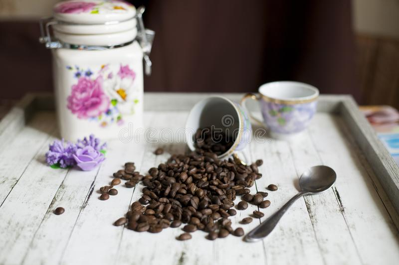 Coffee beans from a cup stock photography