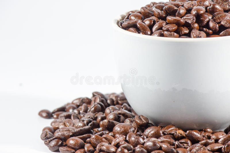 Coffee Beans and cup. On white background royalty free stock image