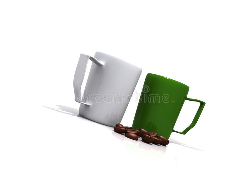 Download Coffee beans and cups stock illustration. Illustration of liquid - 13328441