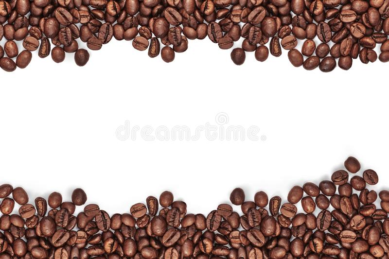 Coffee beans and different types of coffee. White background. Space for text or word.  stock image