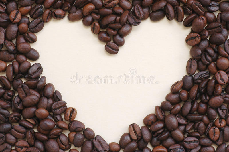Coffee beans frame (heart) stock images