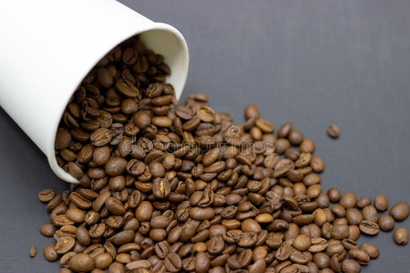 Coffee beans in a glass on a dark background place for text. Coffee beans in a glass on a dark background bridge for text stock photo