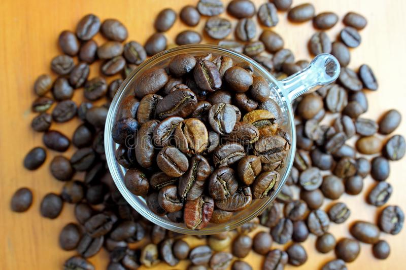 Coffee Beans In The Glass Royalty Free Stock Photo