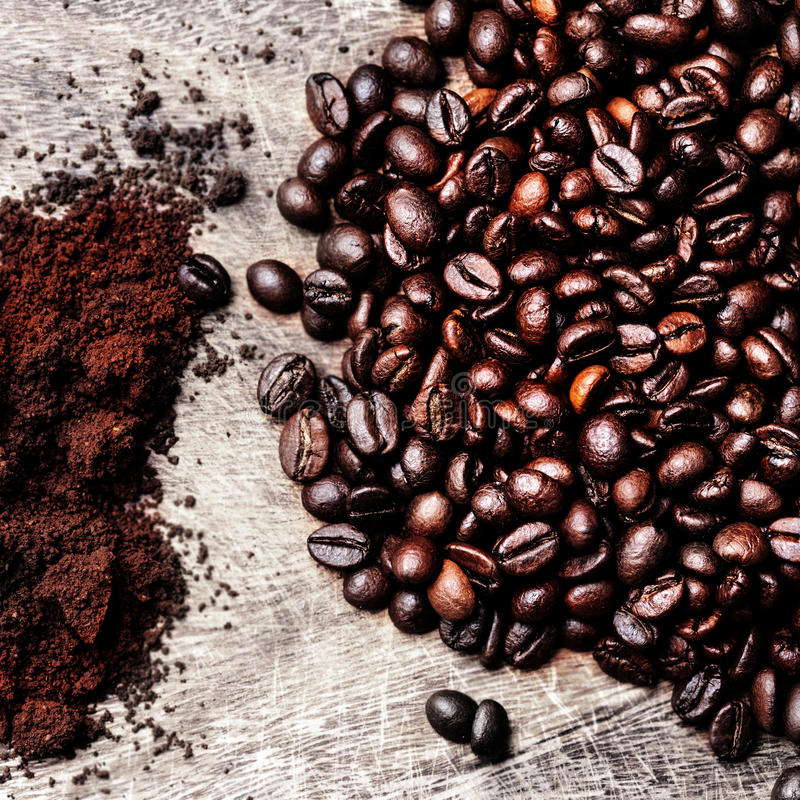 Coffee Beans/ Ground Coffee top view image / Natural coffee back royalty free stock photo