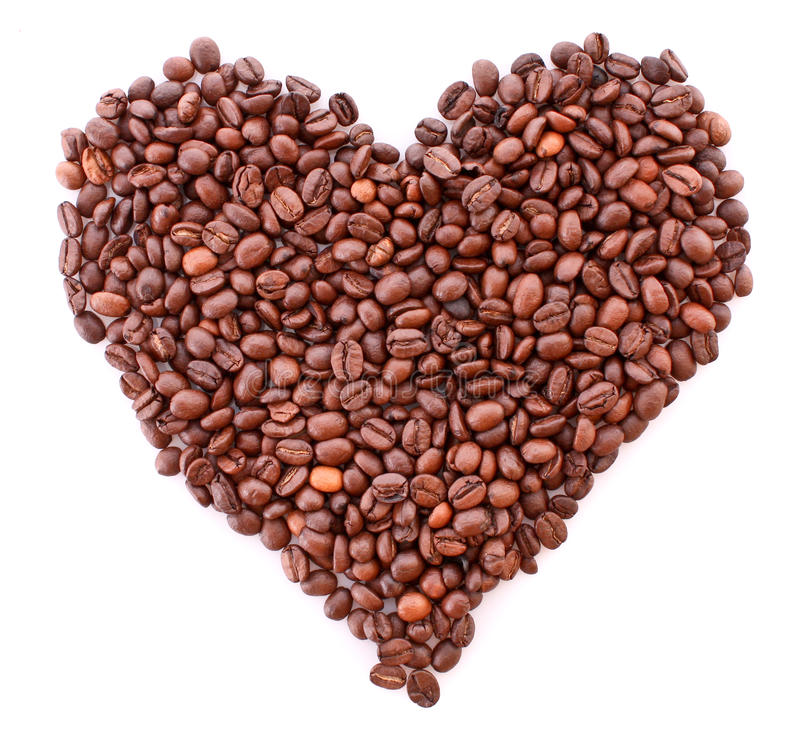 Download Coffee Beans In Heart Symbol Isolated Stock Image - Image: 10485107