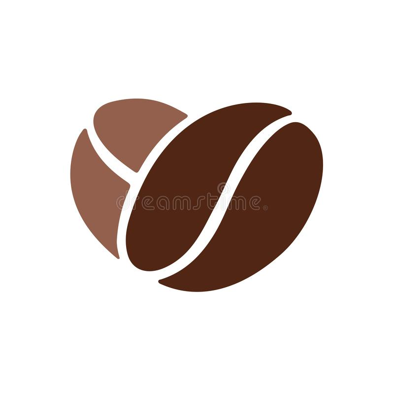 Coffee beans heart. Heart of coffee beans. Vector illustration in flat style royalty free illustration