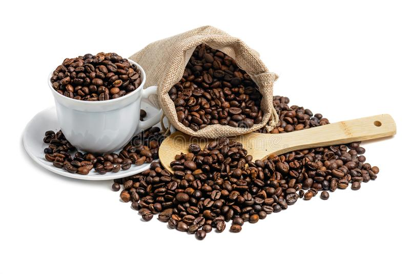 Coffee beans isolated stock image