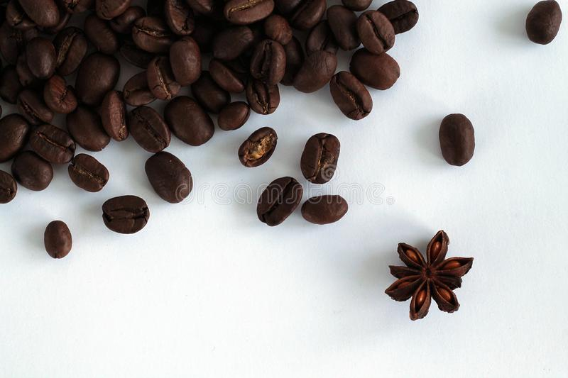 Coffee beans isolated on white background. royalty free stock image