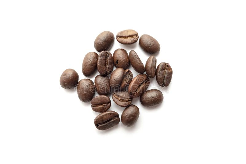 Coffee beans isolated on white background. Close-up. Image royalty free stock photography