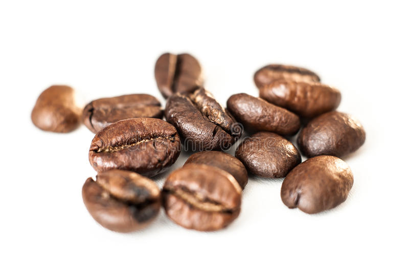 Coffee beans isolated on white background. Cofee beans cocept with copy space royalty free stock photo