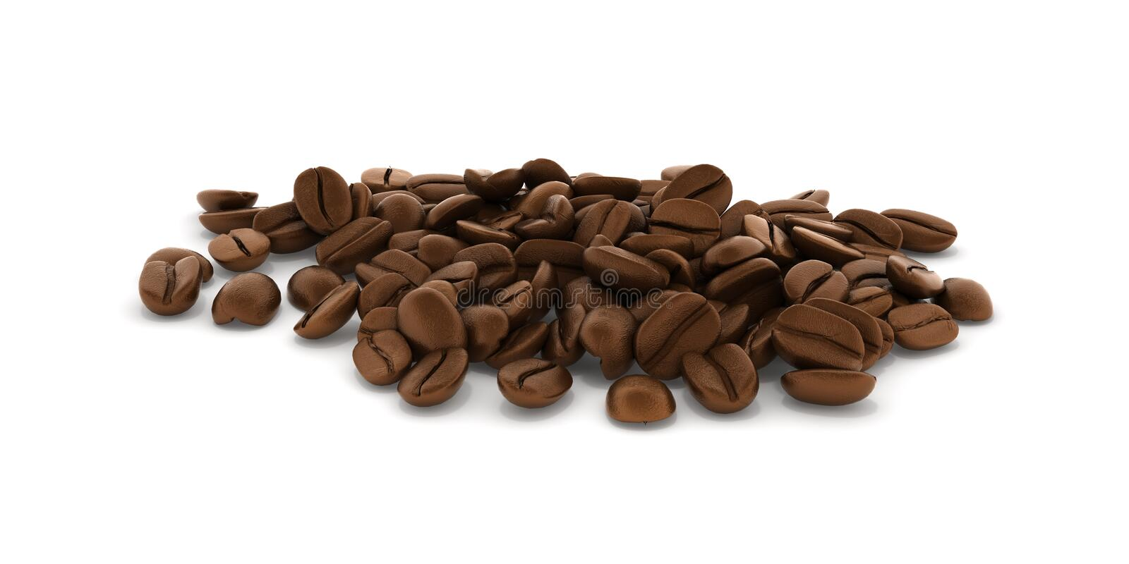 Coffee beans isolated on white background 3d stock illustration