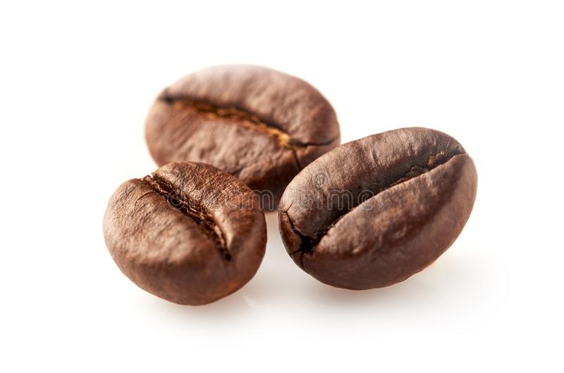 Coffee beans isolated on white. Background. Macro royalty free stock images