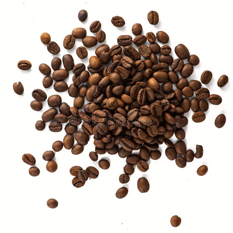 Coffee Beans isolated on white background. Top view royalty free stock photos