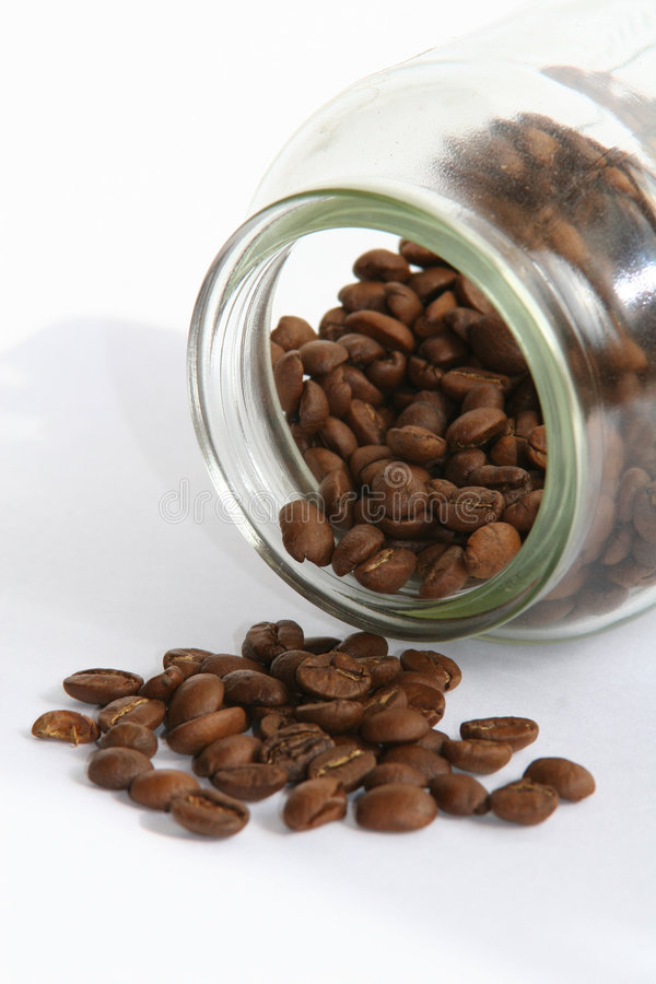 Coffee beans & jar stock image