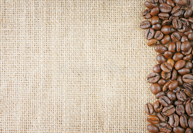 Coffee beans juta stock photo