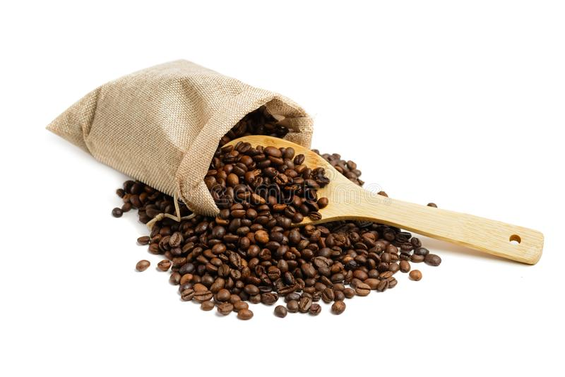 Coffee beans in jute sack stock image