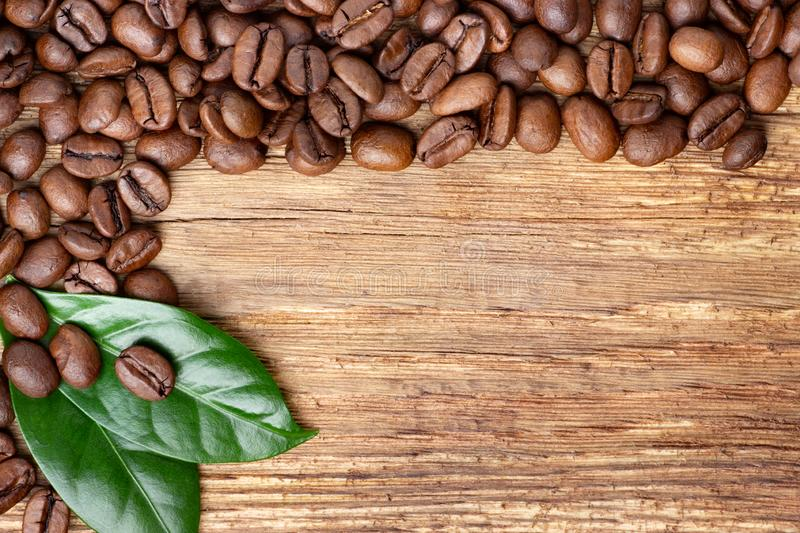 Coffee beans and leaf on wooden background stock images