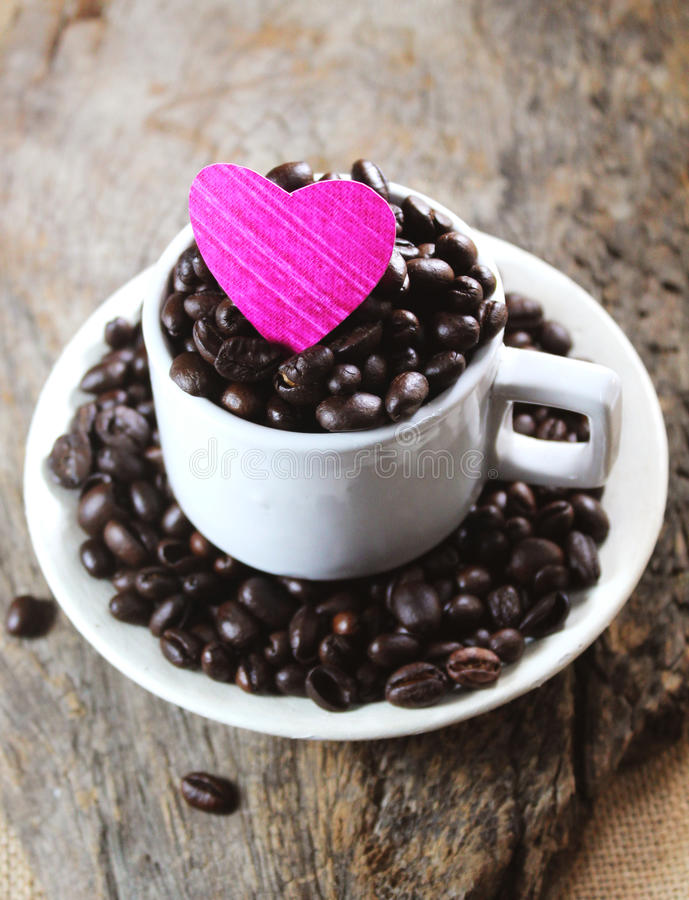 Coffee beans with love royalty free stock photo