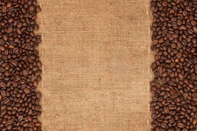 Download Coffee Beans Lying On Sackcloth Stock Image - Image of blank, crop: 33773733