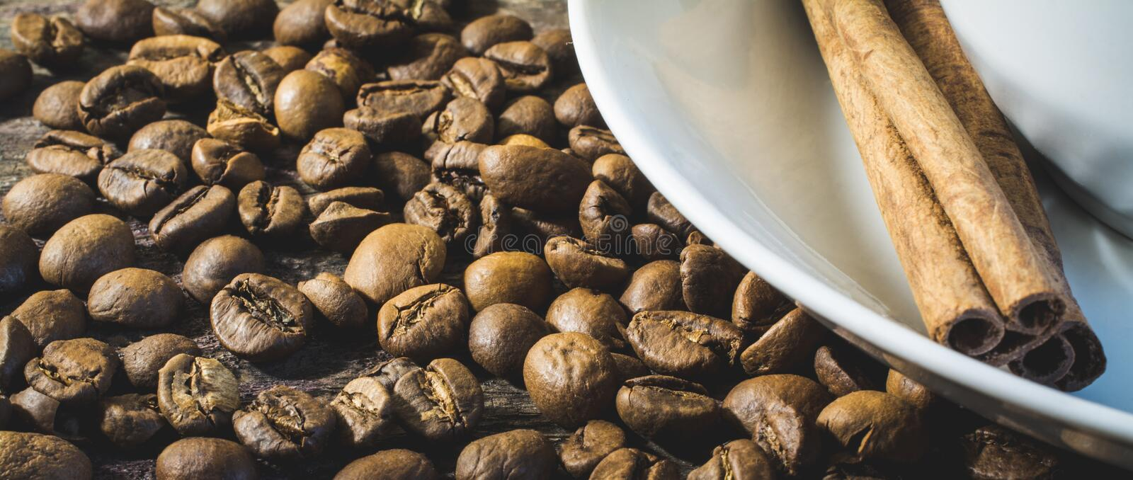Coffee beans macro shot background stock image