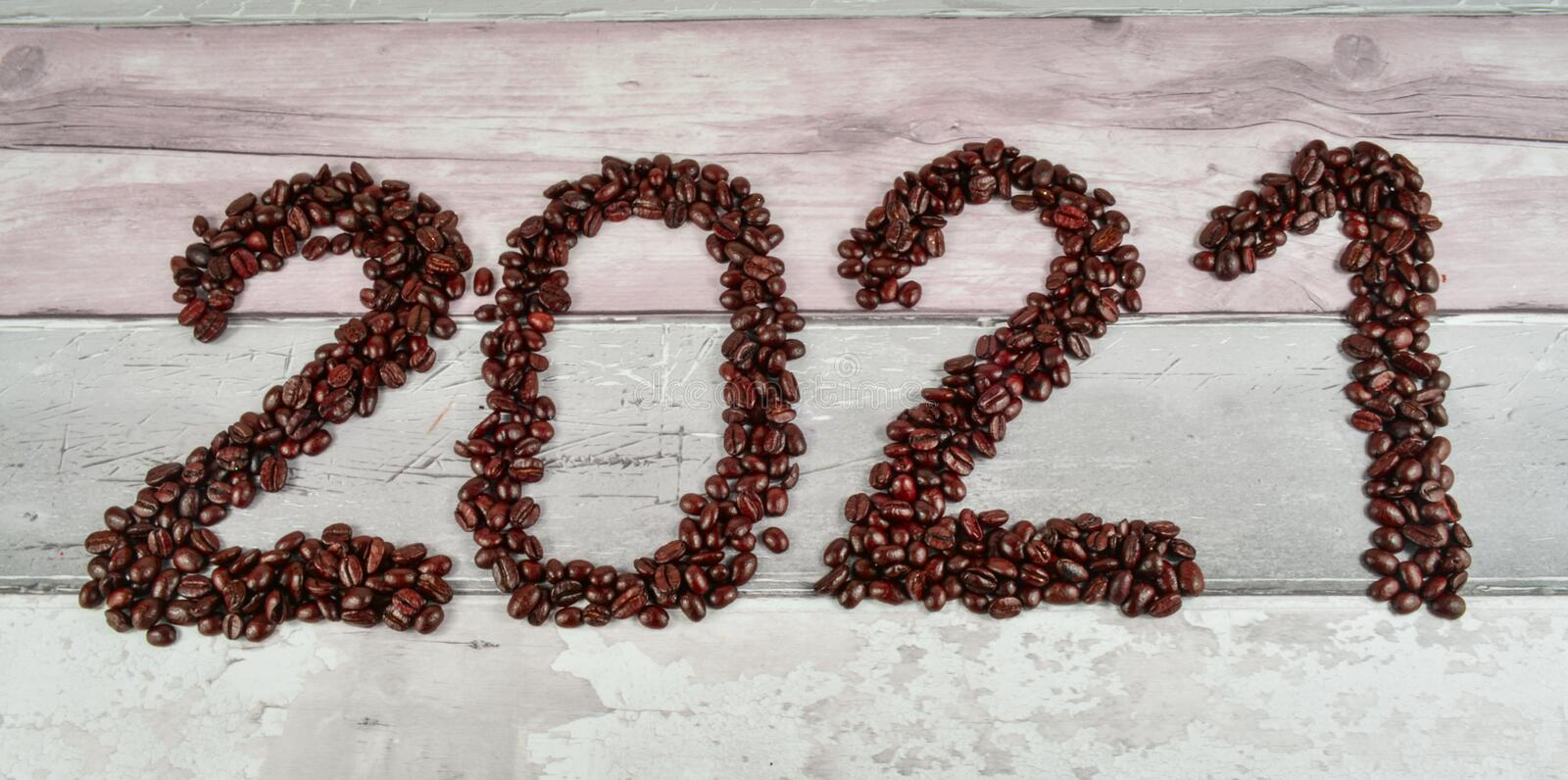 Coffee beans merry Christmas and 2020 happy new year royalty free stock image