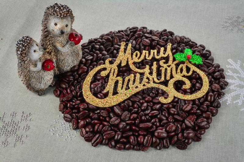 Coffee beans merry Christmas and 2020 happy new year royalty free stock photography