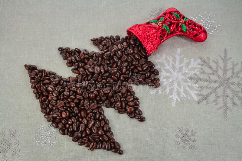 Coffee beans merry Christmas and 2020 happy new year stock photography