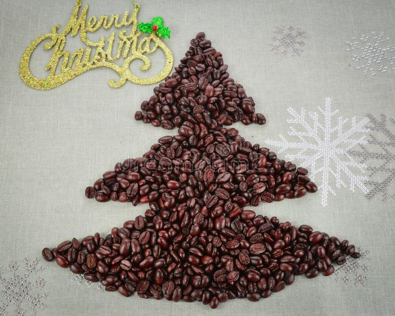 Coffee beans merry Christmas and 2020 happy new year stock image