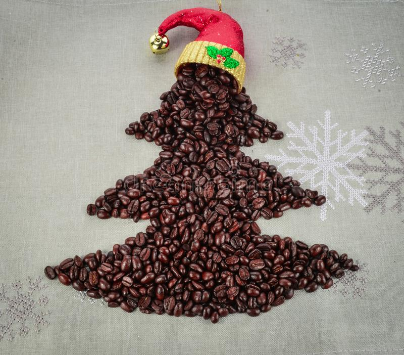 Coffee beans merry Christmas and 2020 happy new year stock photo