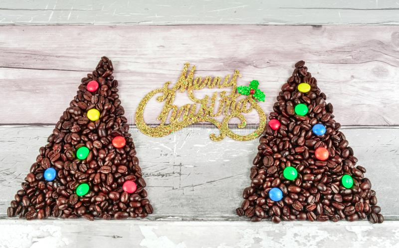Coffee beans merry Christmas and 2020 happy new year royalty free stock photo