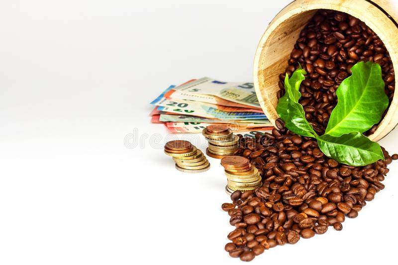 Coffee beans and money. Fair Trade. Sale of coffee. Commodity trade. Fresh coffee beans. royalty free stock photography