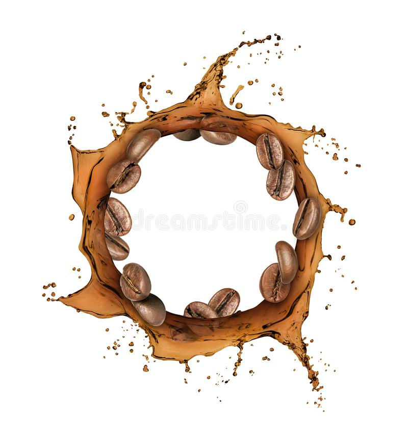 Coffee beans move around in coffee splashes.  royalty free stock photography
