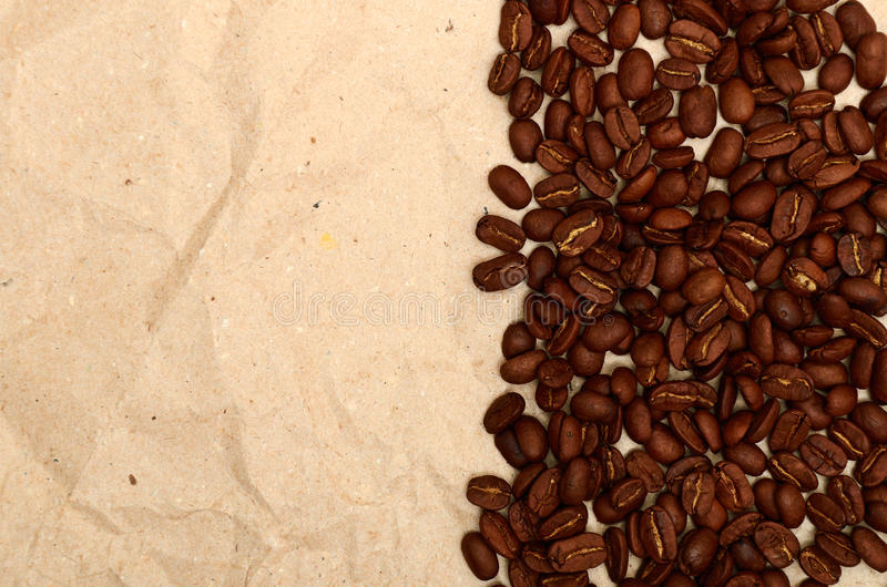 Coffee beans on a old paper