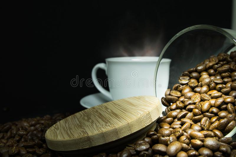 Coffee beans, coffee cup. royalty free stock images