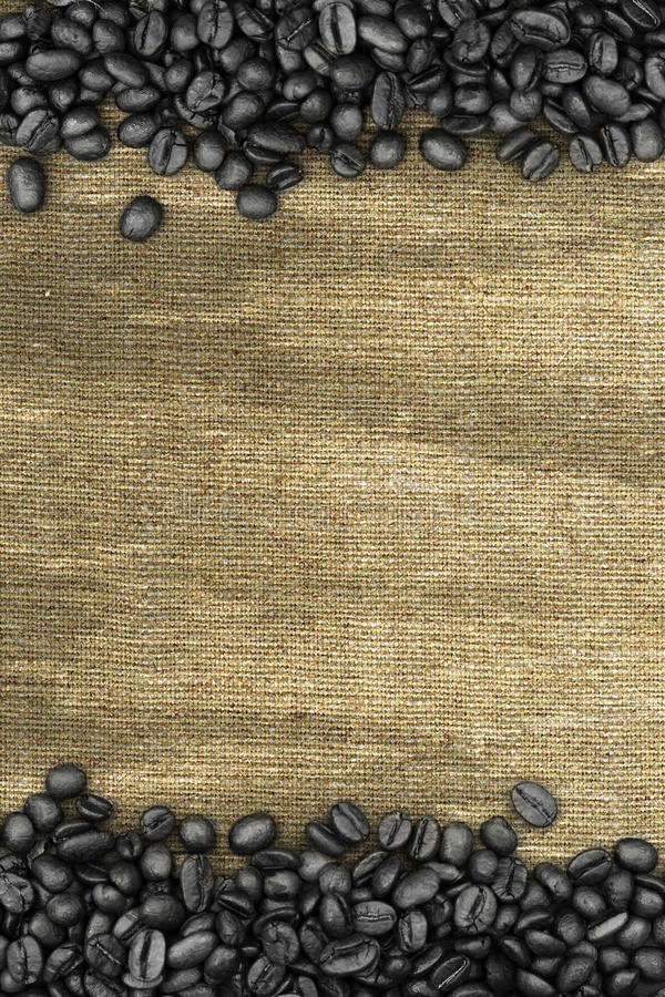 Coffee beans and sack background royalty free stock photo