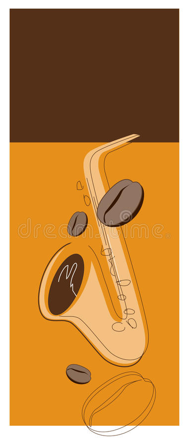 Coffee beans and sax royalty free stock photo