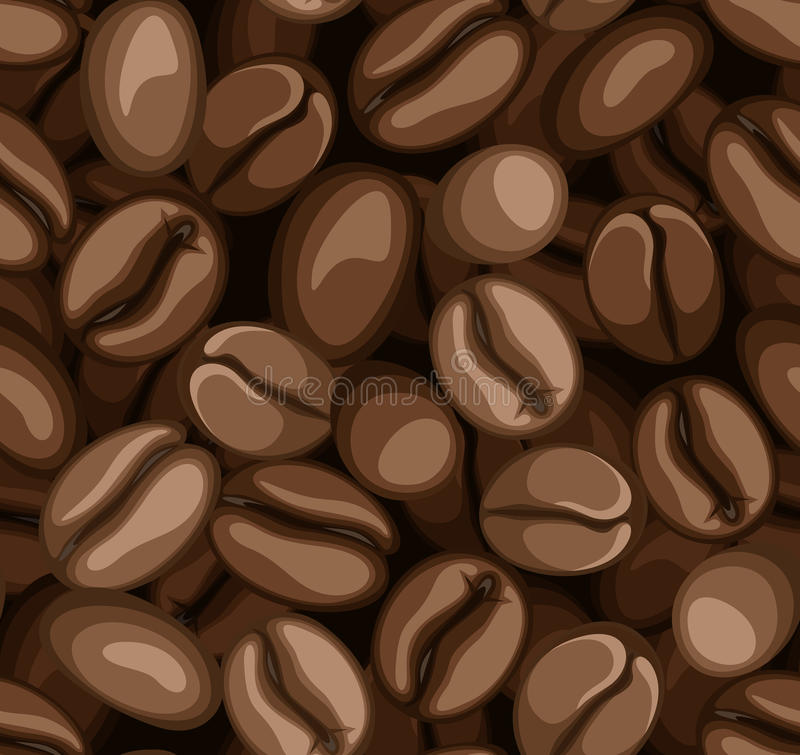 Coffee beans seamless background. royalty free illustration