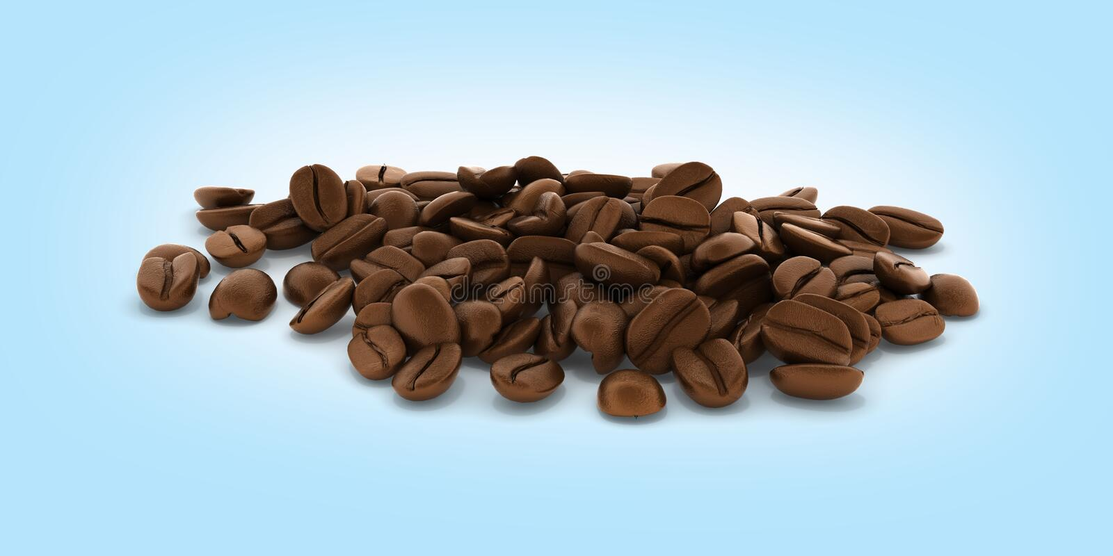 Coffee beans without shadow on blue gradient background 3d stock illustration