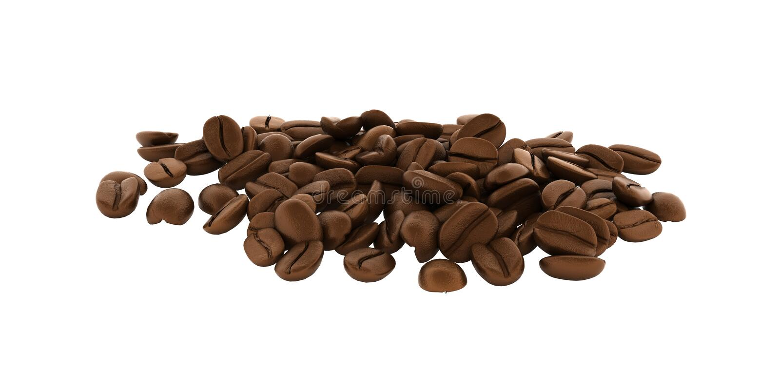 Coffee beans without shadow on white background 3d stock illustration