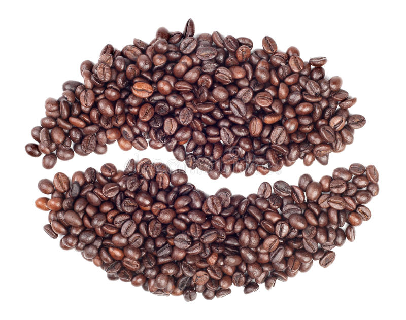 coffee beans in a shape of single coffee bean stock image