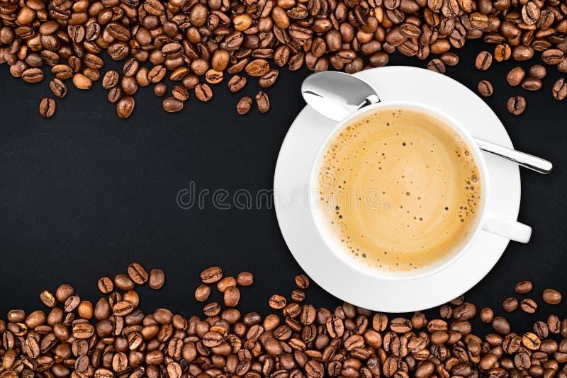 Coffee beans slate background stock photos