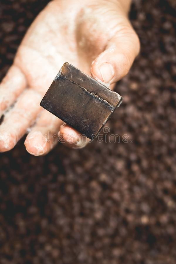 Coffee Beans and Coffee Soap Homemade stock photo