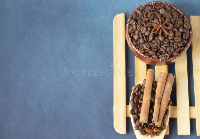 Coffee beans with spices stock photo