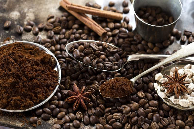 Coffee beans and spices stock photo